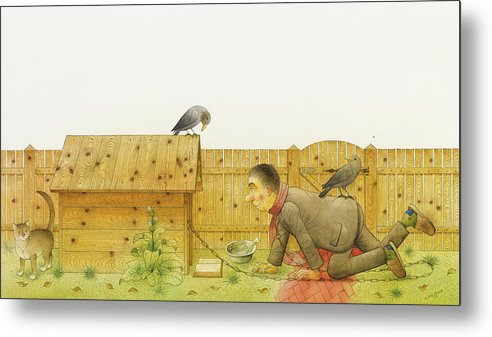 Dog Life Lifestyle House Open Air Raven Cat Animals Grass Illustration Children Book Drawing Metal Print featuring the painting Dogs Life11 by Kestutis Kasparavicius