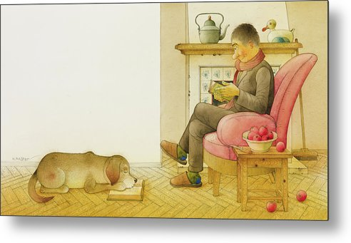 Dog Life Lifestyle Room Apartments Armchair Book Reading Illustration Children Drawing Animals Apples Metal Print featuring the painting Dogs Life13 by Kestutis Kasparavicius
