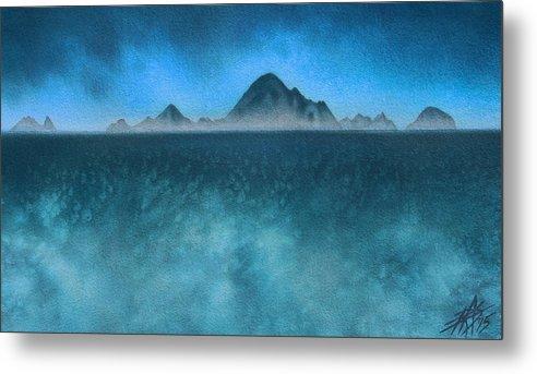 Farallon Islands Metal Print featuring the painting Farallon Islands II or The Misty Isle by Robin Street-Morris