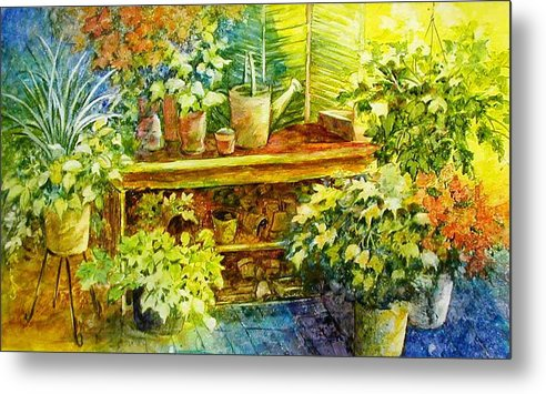 Greenhouse;plants;flowers;gardener;workbench;sprinkling Can;contemporary Metal Print featuring the painting Gardener's Joy by Lois Mountz