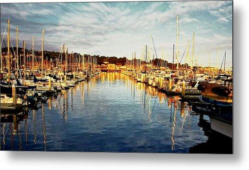 Sunrise Metal Print featuring the photograph Gold Light, Monterey Marina by Zayne Diamond Photographic