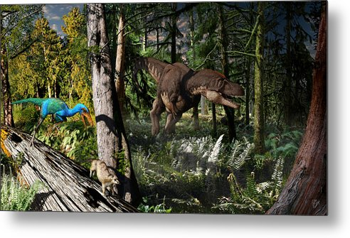 Paleoart Metal Print featuring the digital art Judithian Montana Mural by Julius Csotonyi