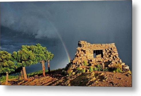 Nature Metal Print featuring the photograph Kawanis Cabin Rainbow, Sandia Crest, New Mexico by Zayne Diamond Photographic