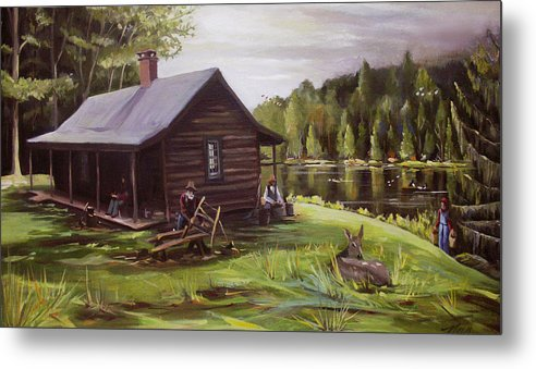 Log Cabin Metal Print featuring the painting Log Cabin by the Lake by Nancy Griswold