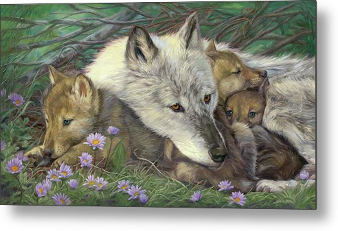 Wolf Metal Print featuring the painting Mother's Comfort by Lucie Bilodeau