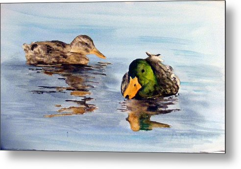 Ducks Metal Print featuring the painting Reflections two by Diane Ziemski