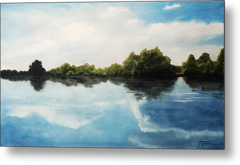 Landscape Metal Print featuring the painting River of Dreams by Darko Topalski