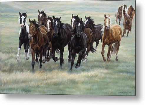 Michelle Grant Metal Print featuring the painting Stampede by JQ Licensing