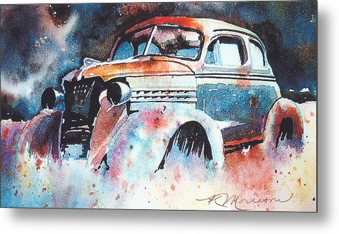 Chev Metal Print featuring the painting StarlightChevy by Ron Morrison