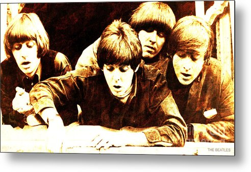 The Beatles Metal Print featuring the painting The Beatles Balcony by Drawspots Illustrations