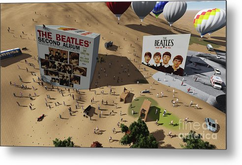 The Beatles Cube On Fans Metal Print featuring the digital art The Beatles Cube on Fans by Drawspots Illustrations