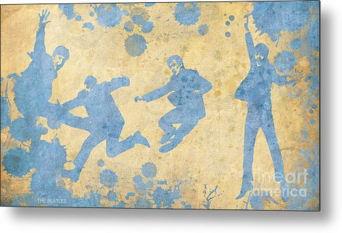 The Beatles Metal Print featuring the painting The Beatles Golden Blue by Drawspots Illustrations