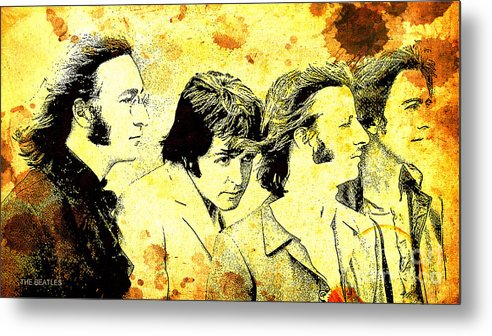 The Beatles Metal Print featuring the painting The Beatles Hidden Paul by Drawspots Illustrations