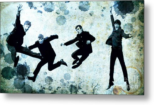 The Beatles Metal Print featuring the painting The Beatles Jump by Drawspots Illustrations