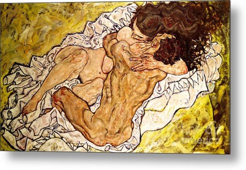 Egon Schiele Metal Print featuring the painting The Embrace by Egon Schiele