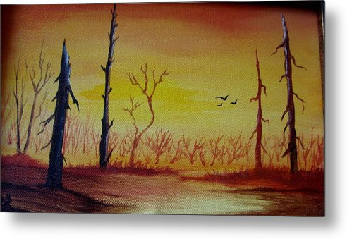 Landscape Metal Print featuring the painting The New Beginning by Glory Fraulein Wolfe