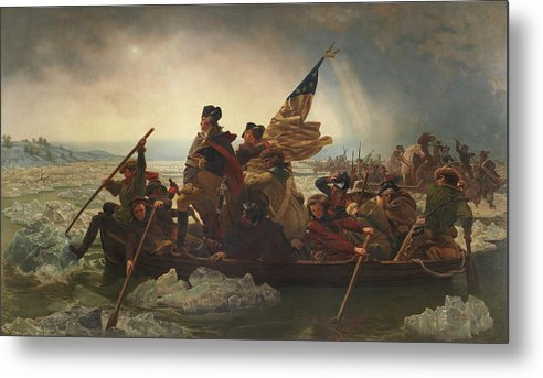 George Washington Metal Print featuring the painting Washington Crossing The Delaware by War Is Hell Store