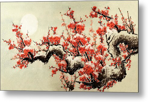 Chinese Culture Metal Print featuring the digital art Plum Blossom by Vii-photo