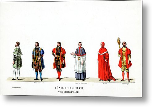Engraving Metal Print featuring the drawing Theatre Costume Designs by Print Collector