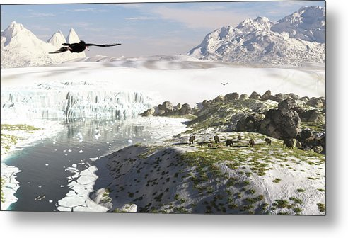 Prehistoric Era Metal Print featuring the digital art A Receding Glacial Scene Circa 18,000 by Arthur Dorety/stocktrek Images