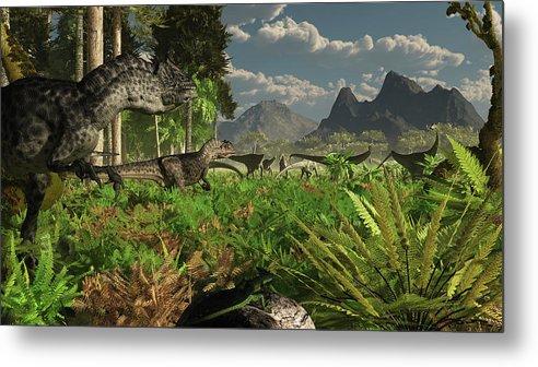 Toughness Metal Print featuring the digital art Allosaurus And Diplodocus Dinosaurs by Arthur Dorety/stocktrek Images