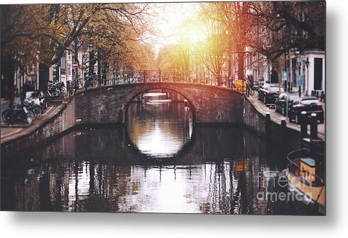 Jordaan Metal Print featuring the photograph Amsterdam Cityscape With Canal by Serts