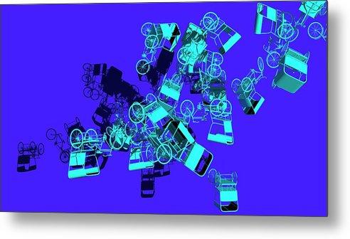 Rickshaw Metal Print featuring the digital art Blue Rickshaws Flying by Heike Remy