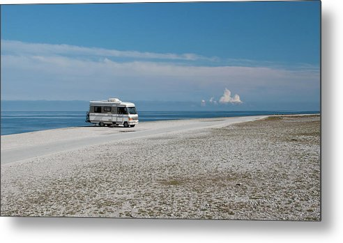 Water's Edge Metal Print featuring the photograph Caravan On Beach by Hokan Jansson