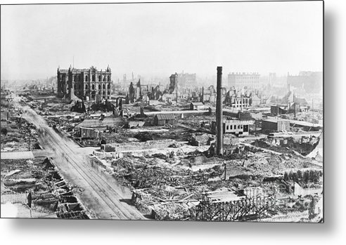 Burnt Metal Print featuring the photograph Chicago Fire Of 1871 by Bettmann