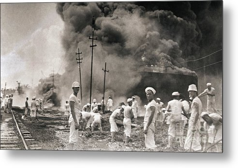 People Metal Print featuring the photograph Fire In Oil Plant In Mexico by Bettmann