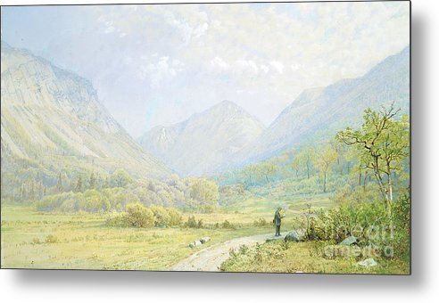 Gouache Metal Print featuring the drawing Franconia Notch by Heritage Images