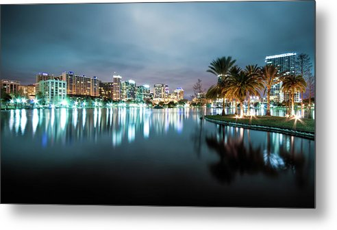 Outdoors Metal Print featuring the photograph Orlando Night Cityscape by Sky Noir Photography By Bill Dickinson