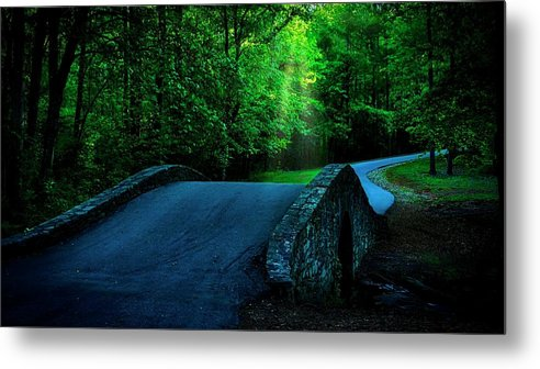 Bridge Metal Print featuring the photograph Over the Bridge and Through the Woods by Zayne Diamond Photographic