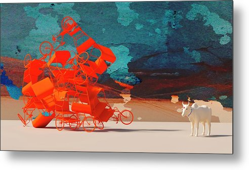 Rickshaw Metal Print featuring the digital art Rickshaw Pileup and Cow by Heike Remy