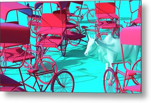 Rickshaw Metal Print featuring the digital art Rickshaws and Cow by Heike Remy