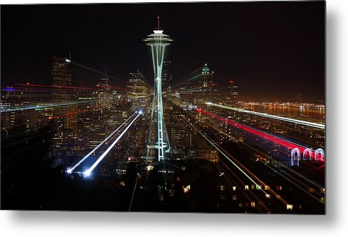 Laser Metal Print featuring the photograph Seattle Skyline Laser Show by Jonkman Photography