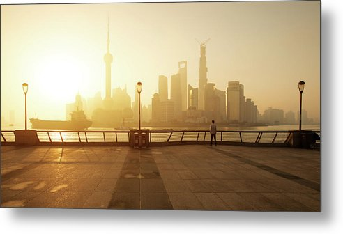 Tranquility Metal Print featuring the photograph Shanghai Sunrise At Bund With Skyline by Spreephoto.de