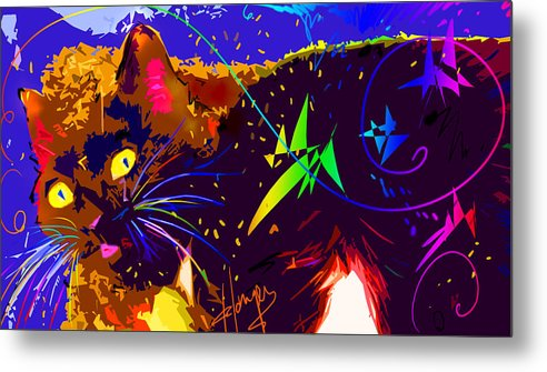 Dizzycats Metal Print featuring the painting Someone Found The Catnip by DC Langer