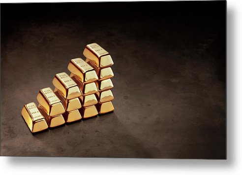 In A Row Metal Print featuring the photograph Stepped Stack Of Gold On Dark Surface by Anthony Bradshaw
