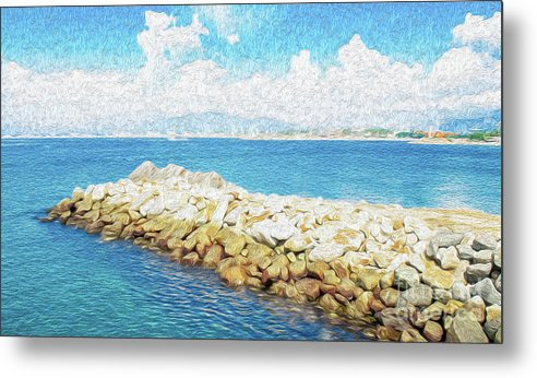 Manzanillo Metal Print featuring the digital art The Jetty in Manzanillo, Mexico by Kenneth Montgomery