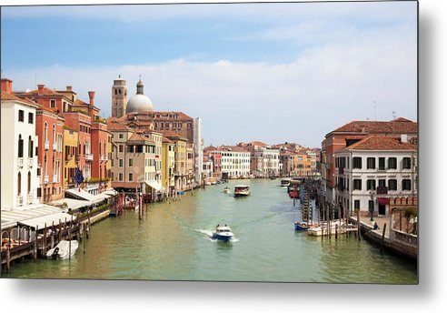 Motorboat Metal Print featuring the photograph Venice Grand Canal Scene, Veneto Italy by Romaoslo