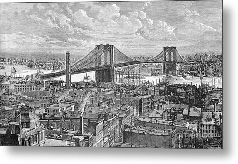 Suspension Bridge Metal Print featuring the photograph View Of The Brooklyn Bridge by Bettmann