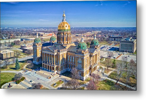 Built Structure Metal Print featuring the photograph Aerial Of Iowa Capital March 4 2017 by Monte Goodyk