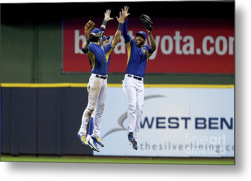 People Metal Print featuring the photograph Domingo Santana and Ryan Braun by Dylan Buell