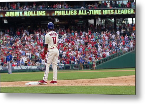 Citizens Bank Park Metal Print featuring the photograph Jimmy Rollins by Mitchell Leff