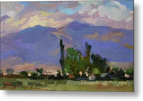 Northern Sierras Metal Print featuring the painting Knox Johnson's Sister's Place by Betty Jean Billups
