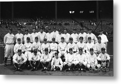 People Metal Print featuring the photograph Lou Gehrig and Babe Ruth by Transcendental Graphics