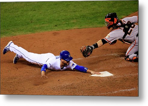 People Metal Print featuring the photograph Omar Infante and Buster Posey by Jamie Squire