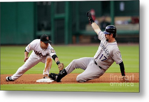 Stretching Metal Print featuring the photograph Todd Helton by Bob Levey