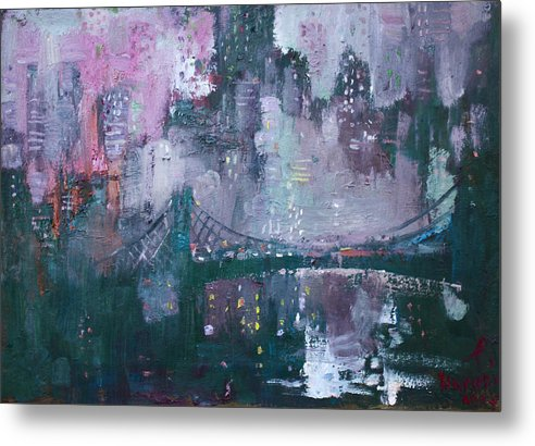 Brooklyn Bridge Metal Print featuring the painting City That Never Sleeps by Ylli Haruni